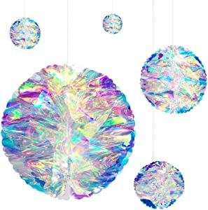 Esweny Hanging Decorations Iridescent Honeycomb Ball,Rainbow Film Laser Paper Flower Ball Plastic Gradient Iridescent Party Props Colorful Home Decoration Drop Ornament(5PCS)