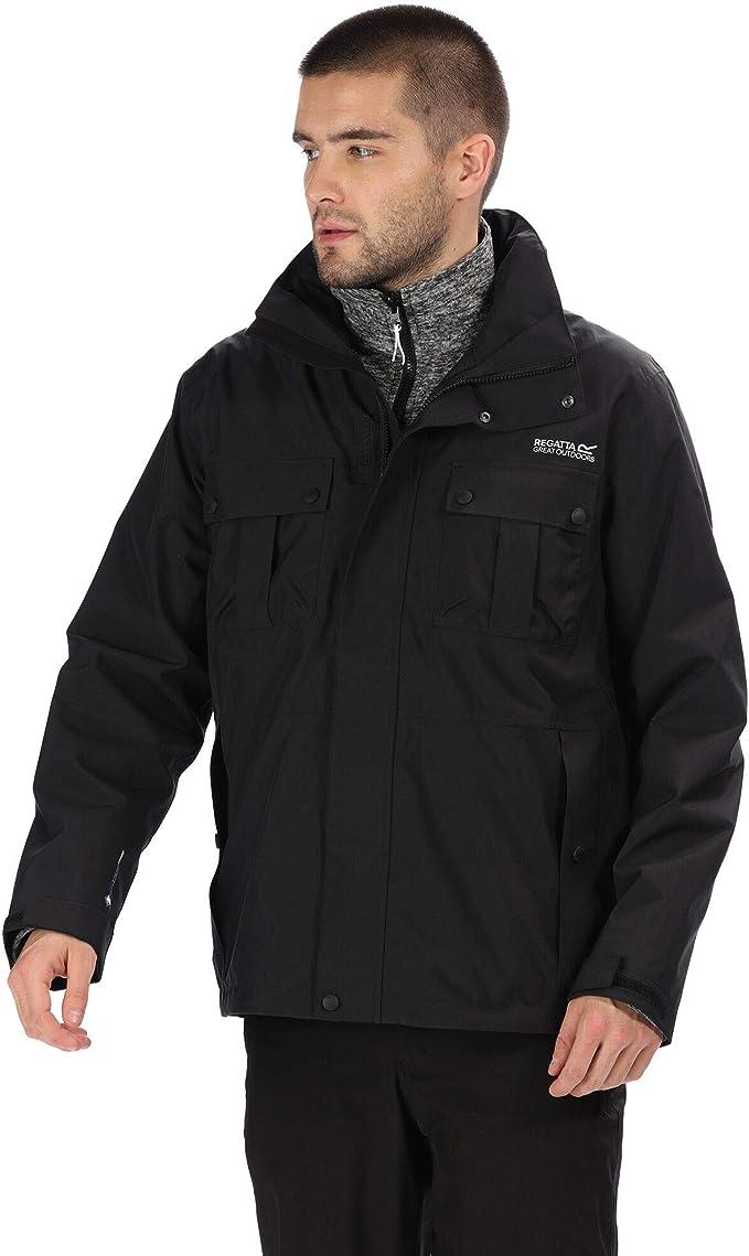 Regatta Men's Northton III Waterproof & Breathable Concealed Hooded 3-In-1 Jacket with Marl Fleece Inner 3-in-1, Black(Black), S,Regatta,RMP271 80850