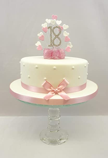 CAKE DECORATION TOPPER HEART BURST SPRAY DIAMANTE 18th BIRTHDAY BABY PINK Amazoncouk Kitchen Home