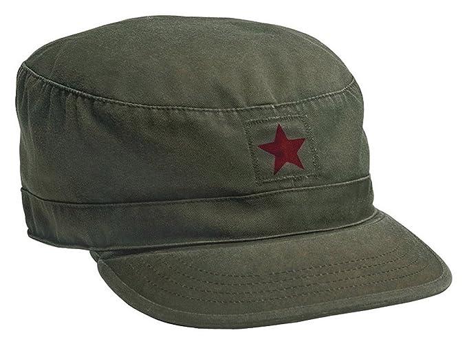 d9bbfdd5575 Amazon.com  Rothco Vintage Olive Drab Fatigue Cap Red Star  Sports ...
