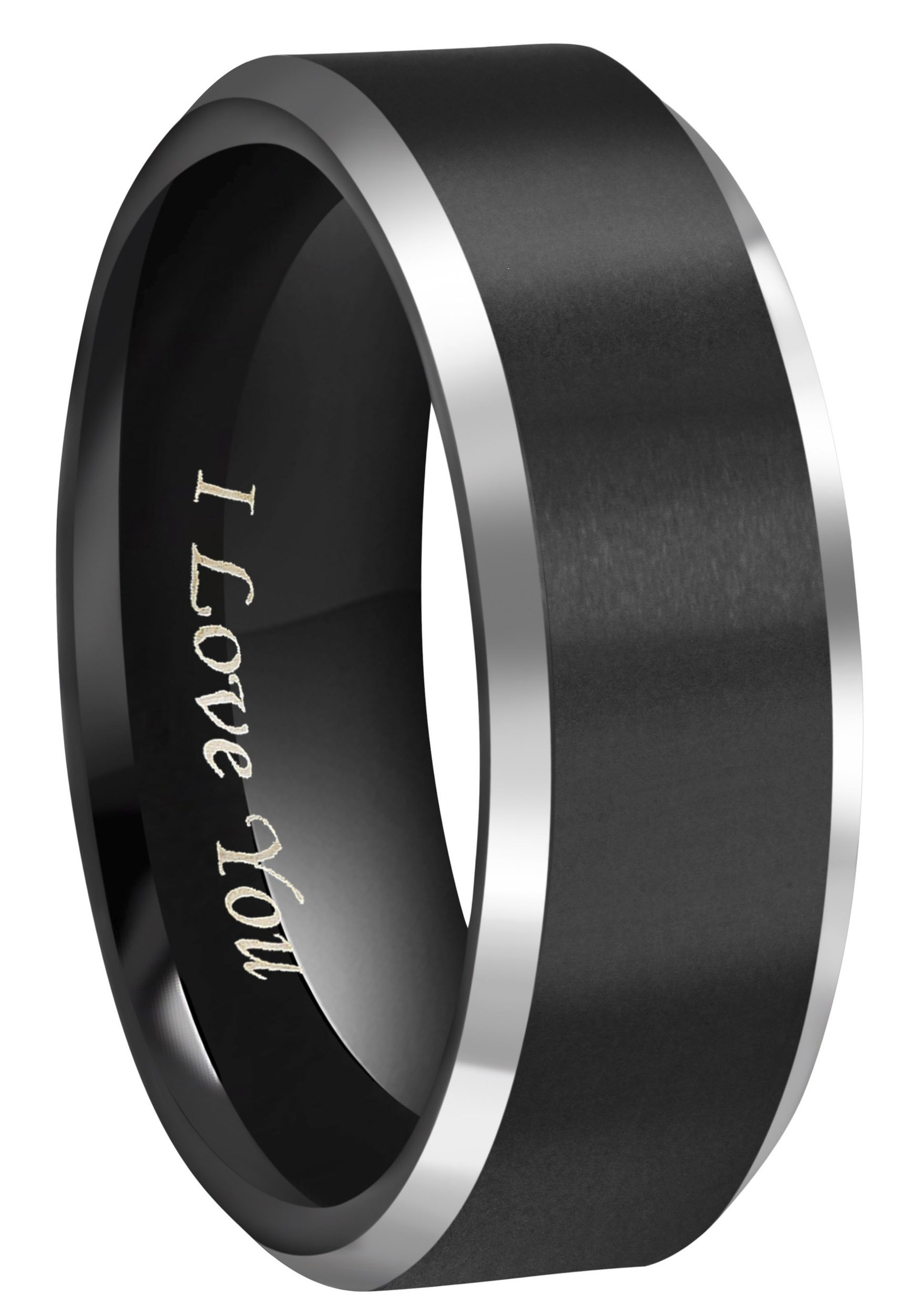 CROWNAL 8mm Black Tungsten Couple Wedding Bands Rings Men Women Polished Beveled Edges Matte Brushed Finish Engraved I Love You Size 3.5 To 17 (8mm,16)