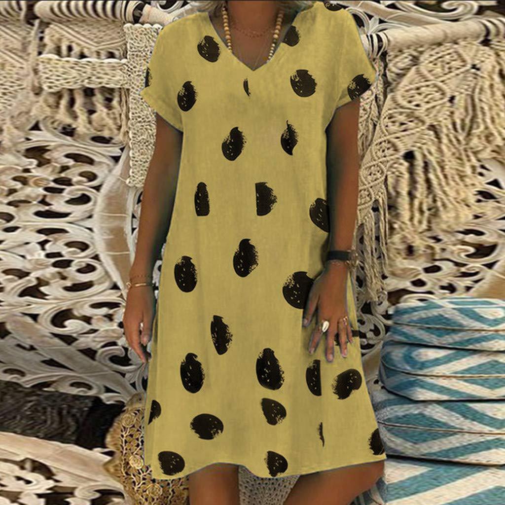 Clothful  Women Dress, Women Casual Summer Print V-Neck Short Sleeve T-Shirt Dress Mini Dress Yellow by Clothful (Image #3)