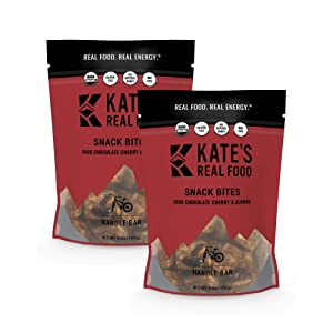 Kate's Real Food Organic Granola Bites, Non-GMO, All-Natural Ingredients, Gluten-Free and Soy-Free Healthy Snack with Natural Flavors, Dark Chocolate Cherry & Almond (Pack of 2)