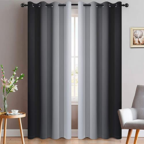 Yakamok Black Ombre Curtains Light Blocking Symmetrical Gradient Color Panels Room Darkening Thermal Insulated Grommet Window Drape