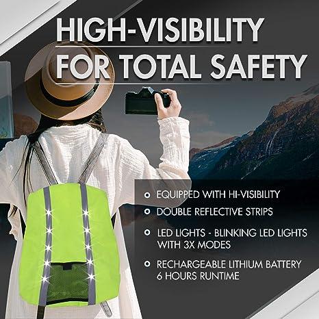 resistente a la intemperie Mochila impermeable reflectante de alta visibilidad con luces LED de 2 a 22 litros