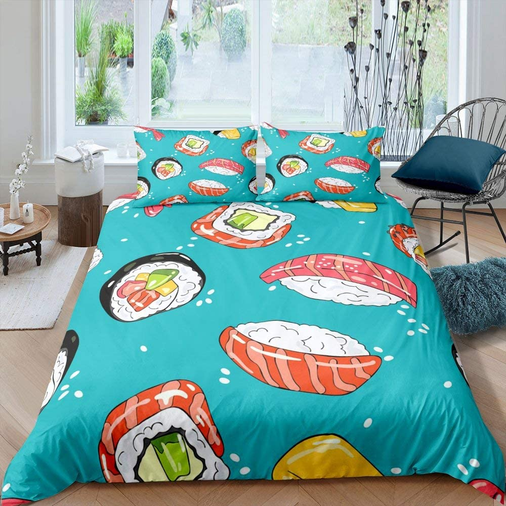 Sushi Bedding Set Queen Size,Cartoon Japan Food Comforter Cover Set for Kids Child,Japanese Style Duvet Cover for Teens Boys Girls,Funny Novelty Hand Drawn Quilt Cover Kawaii Bedroom Decor Teal