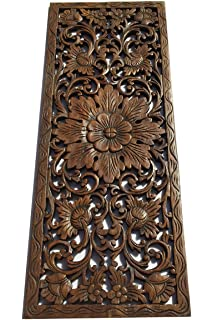 Large Carved Wood Wall Panel. Floral Wood Carved Wall Decor. Size 35.5