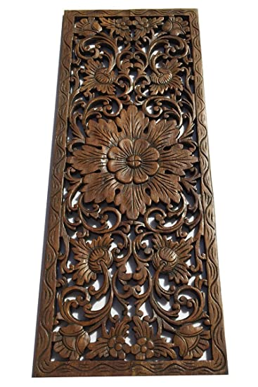 floral wood carved wall decor size 355x13 - Amazon Home Decor