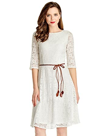 c7f1f595db GRAPENT Women's Floral Lace Overlay A-Line 3/4 Sleeves Bridal Short Dress US