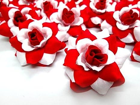 b358299bedbff (24) Silk Red White Roses Flower Head - 1.75
