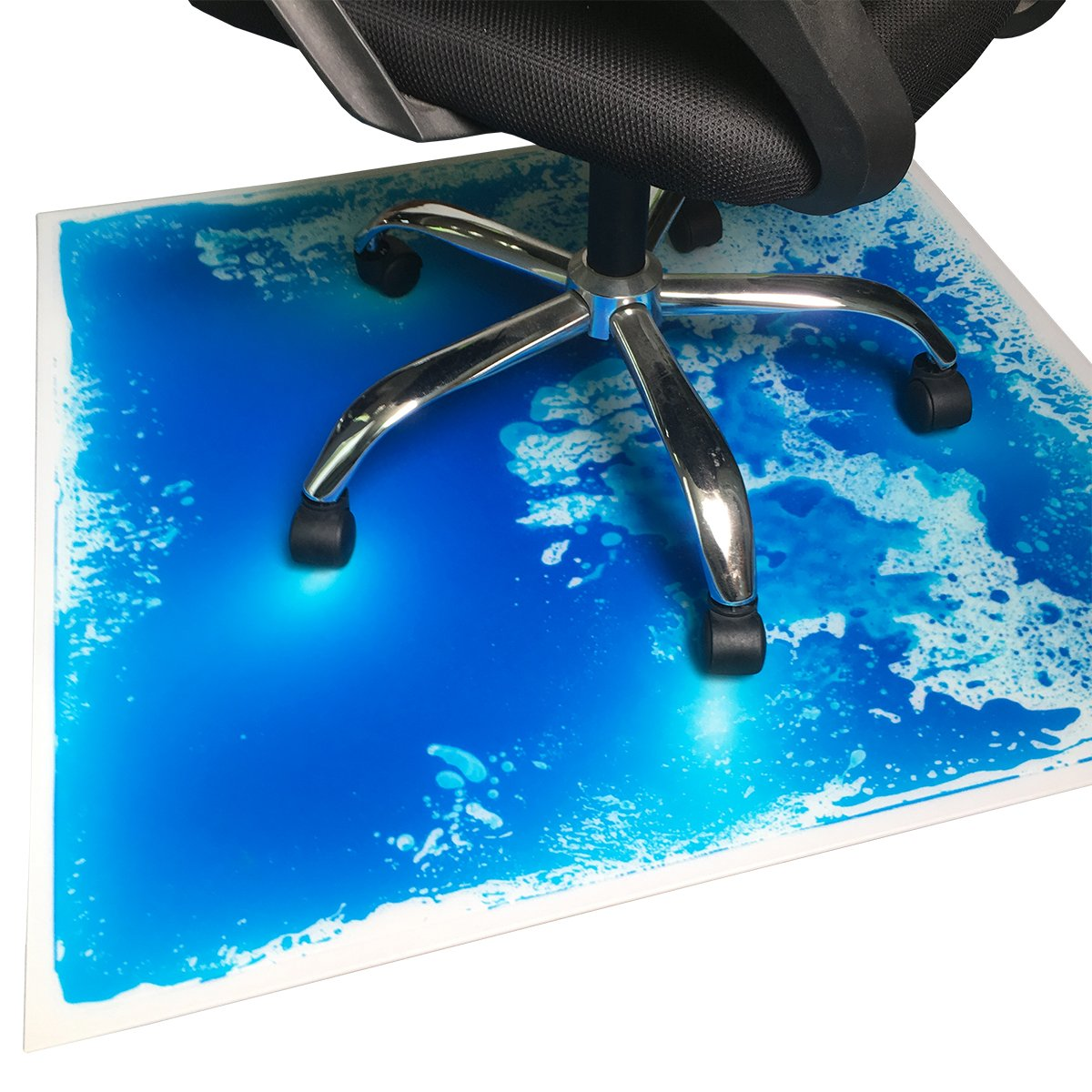 Liquid Encased Office Chair Mat for Carpet/Hardwood Floor Chair Mat, Blue