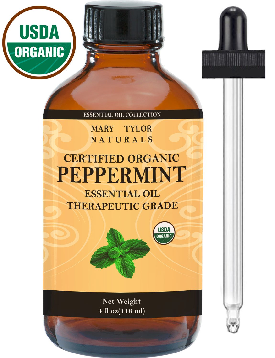 Organic Peppermint Essential Oil Large 4 oz, USDA Certified Organic, By Mary Tylor Naturals Premium Therapeutic Grade, 100% Pure, Perfect for Aromatherapy, Relaxation, Improved Mood, Repel Mice, Pests