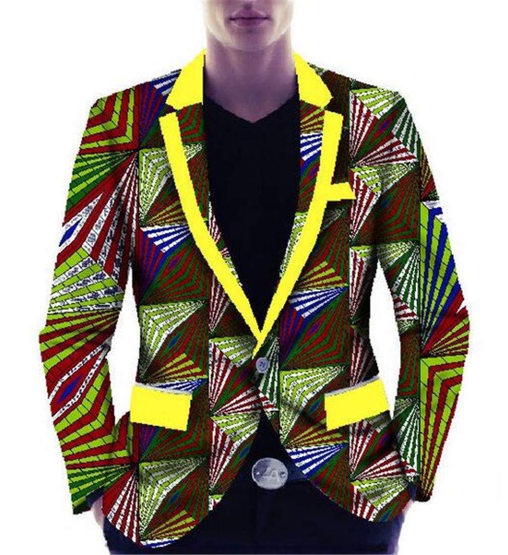 Domple Mens Ethnic Style African Print 1 Button Lapel Blazer Jacket Sport Coat Three US M