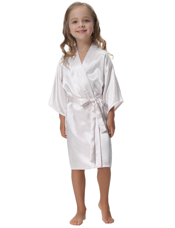 Aibrou Kimono Vestaglia Accappatoio Ragazze Bambine Pigiama Camicia da Notte in Raso con Cintura per Piscina Sauna Spa Hotel Nozze per 6-14 Anni AM16081701