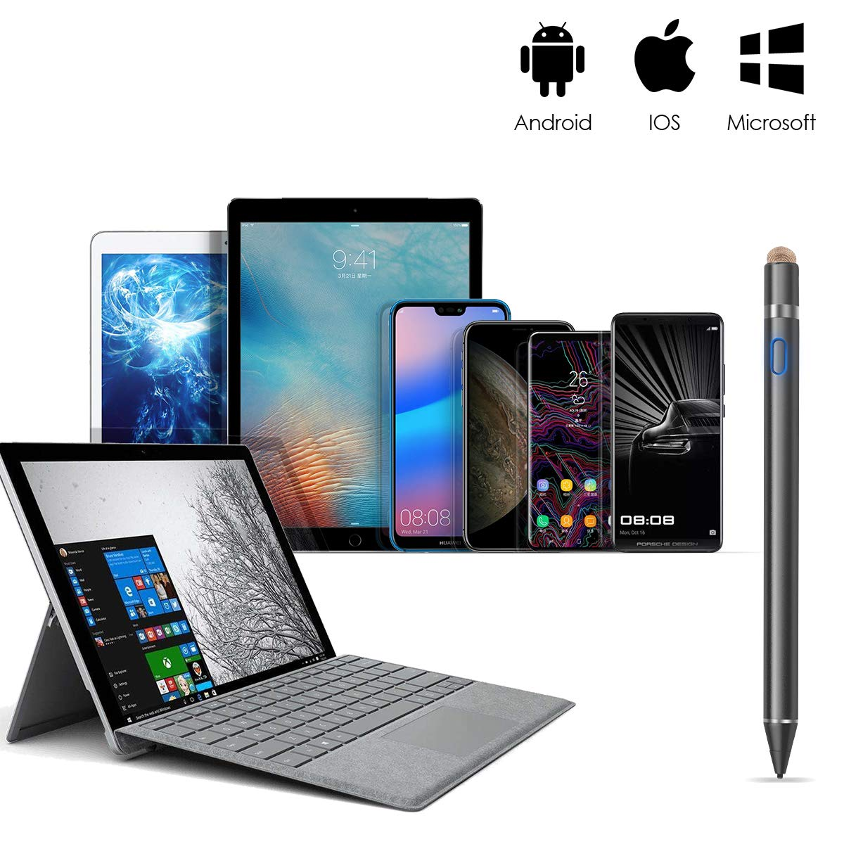 iPad iPhone Samsung Huawei L/ápiz /Óptico Activo Punta Fina 1.8mm para Android Sotical Veamor L/ápiz T/áctil Tablet Negro Tel/éfono Tableta Dispositivos de Pantalla T/áctil