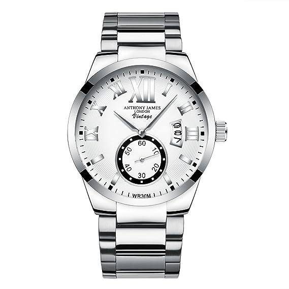 Reloj de vestir Anthony James blanco clásico para hombres – Diseño elegante y duradero para el