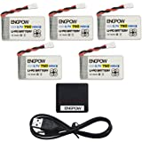 Syma X5C Drone Battery ENGPOW 3.7v 750mAh Lipo Battery for X708W Drone S5 Drone Syma X5SW Syma X5C-1 X5SC-1 JJRC H42 H23 Goolrc T32 UDI U45 RC Quadcopter by ENGPOW 5PCS Lipo Battery with X5 Charger.