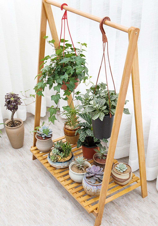 Bamboo Plant Stand Rack,Cyanbamboo Flowerpot Hanging Rack Shelf Folding Bedroom Clothes Storage Rack Garment Shelf by Cyanbamboo