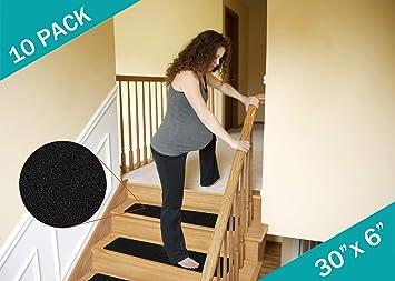 Peldaños antideslizantes para escaleras (10 unidades) para escalones de madera para exteriores o interiores (30