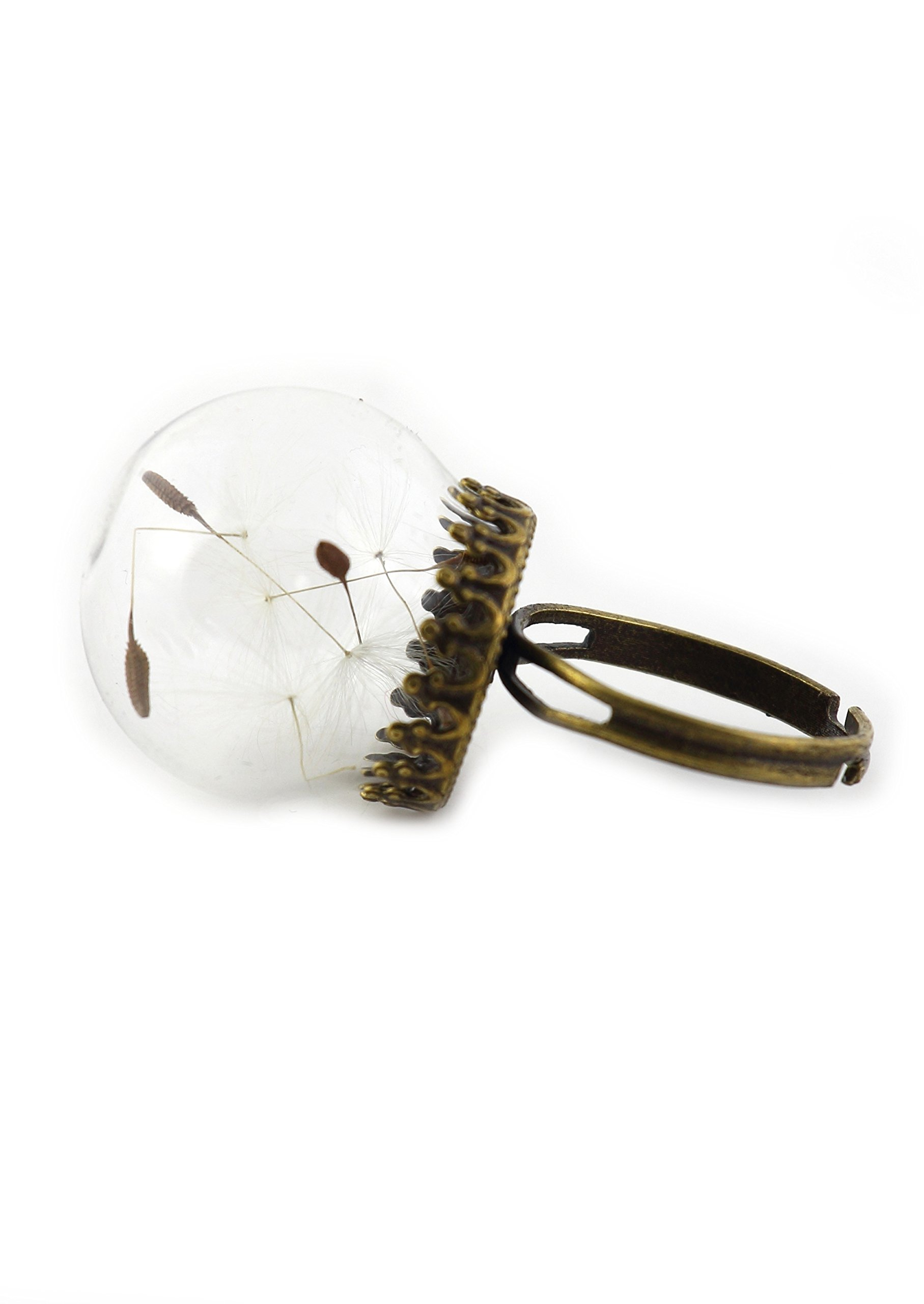 Magic Metal Wishing Dandelion Seeds Ring Antique Gold Tone RM36 Sealed Orb Dome Statement Fashion Jewelry