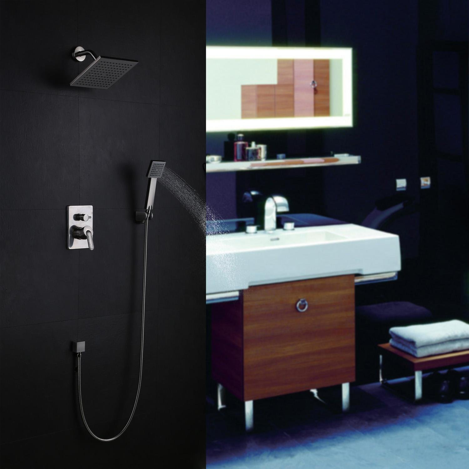 Bath Shower Faucet Set Complete Nickel Brushed Finish Wall Mount ...