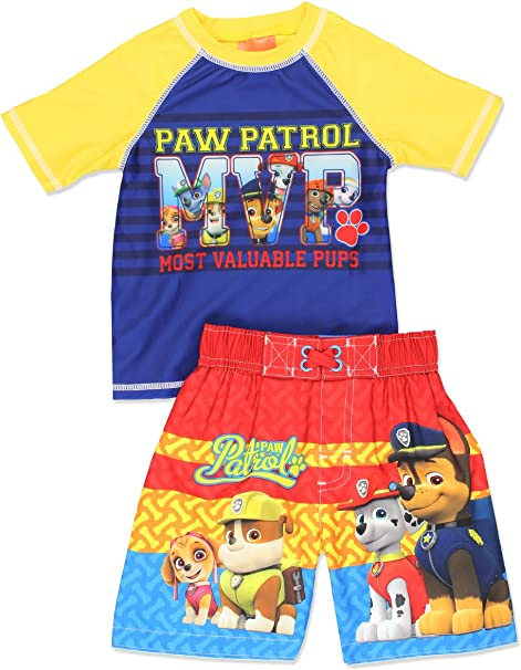 Paw Patrol Boys Chase Marshall /& Group Two Piece Swim Set