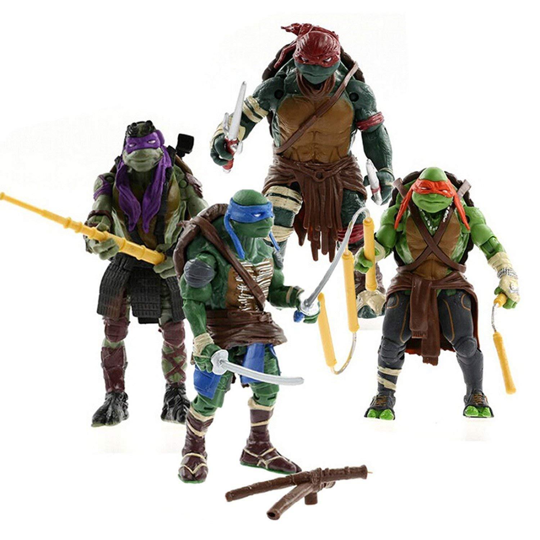 PIXEL ART Teenage Mutant Ninja Turtles Movie 5'' Action Figure TMNT 4pcs/Lot Toys LY