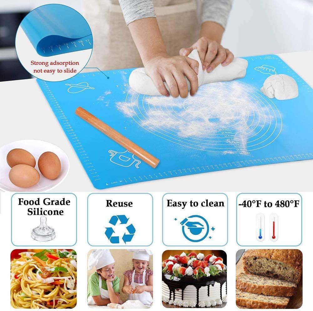 26cm Espesador de reposter/ía Rolling Mat Bakeware Liners Cooking Mat 29 Tapete de Silicona para Hornear con Medidas