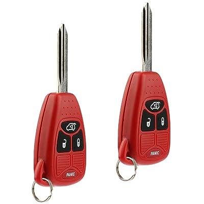 Key Fob Keyless Entry Remote fits Chrysler 200 300 300c PT Cruiser Sebring / Dodge Avenger Charger / Jeep Commander Grand Cherokee Liberty (Red), Set of 2: Automotive