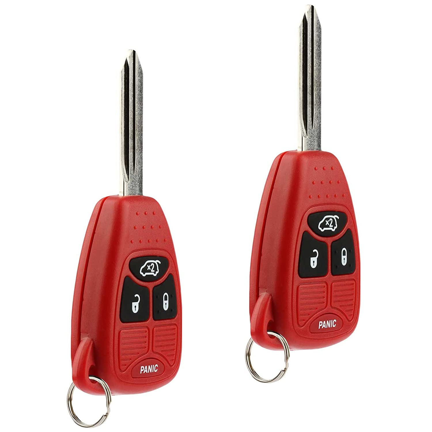 Set of 2 USARemote Key Fob Keyless Entry Remote fits Chrysler 200 300 300c PT Cruiser Sebring // Dodge Avenger Charger // Jeep Commander Grand Cherokee Liberty Red