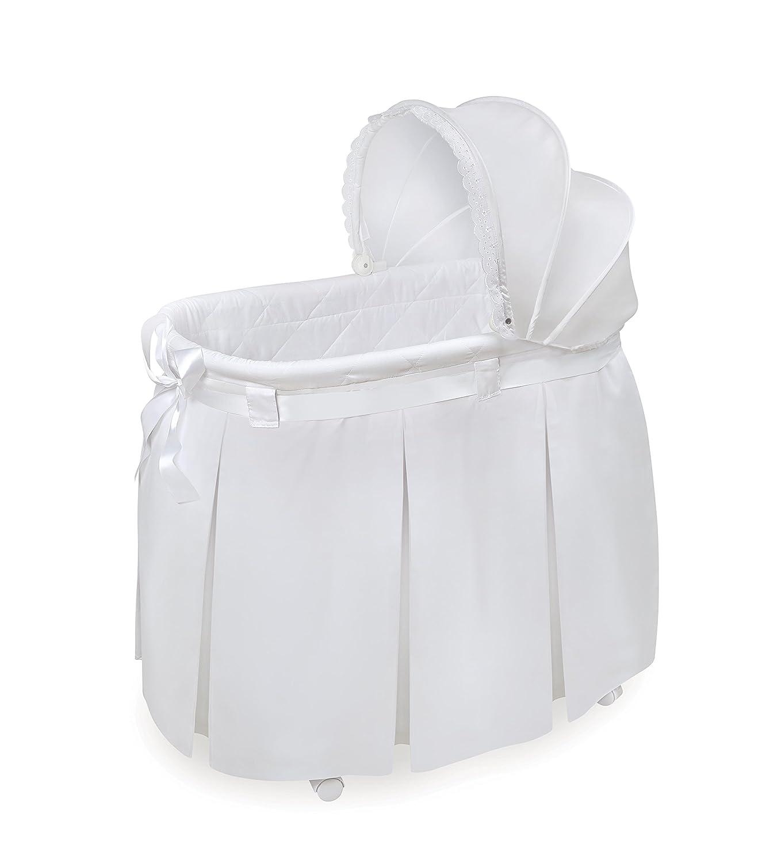 Badger Basket Wishes Oval Bassinet Full Length Leaf Skirt, White/Gray 31005