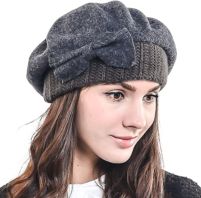 HY022 Barette - Gorro de lana 100% para mujer gris M: Amazon.es ...