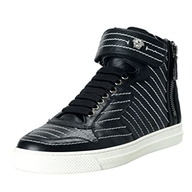 fc83eda99 Image Unavailable. Image not available for. Color  Versace Men s Black  Leather Hi Top Sneakers Shoes ...