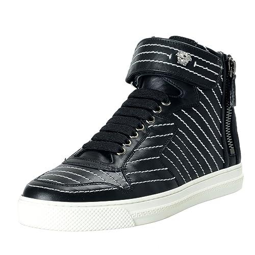 b5060f10 Amazon.com: Versace Men's Black Leather Hi Top Sneakers Shoes Sz US ...