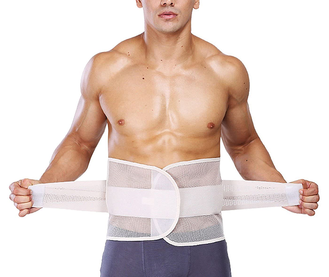 AIEOE Men Waist Cincher Trimmer Trainer Belt Breathable Back Brace Belly Wrap