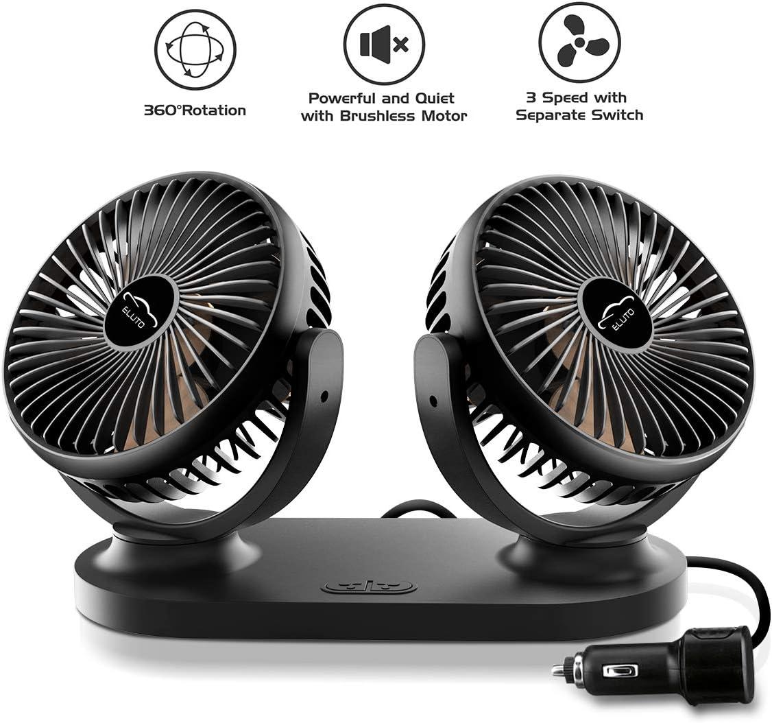 ELUTO Ventilateurs de Voiture Double Tête 12V 24V Ventilateur de Refroidissement de Voiture Electrique à 3 Vitesses Rotatif à 360 Degrés pour