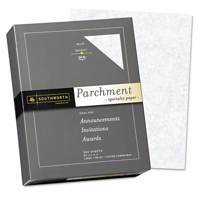 Southworth 964C Parchment Specialty Paper Blue 24 lb. 8 1/2 x 11 500/Box by Southworth (Image #1)