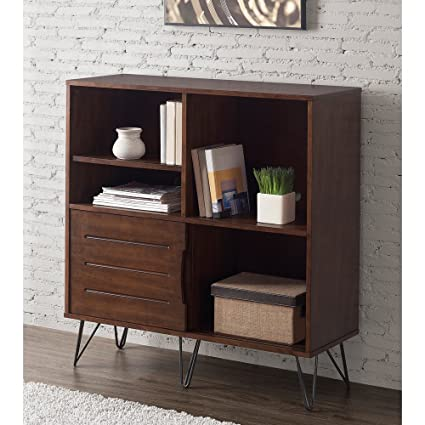 Rich Medium Walnut Finish Retro Clarence Multi Functional Media Bookshelf  Console Includes Our Exclusive Decorating