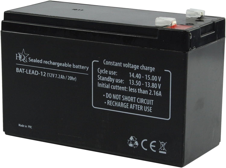 HQ BAT-LEAD-12 - Batería/Pila recargable, Universal, Plomo-ácido, Negro, 10.5 x 16 x 7 cm