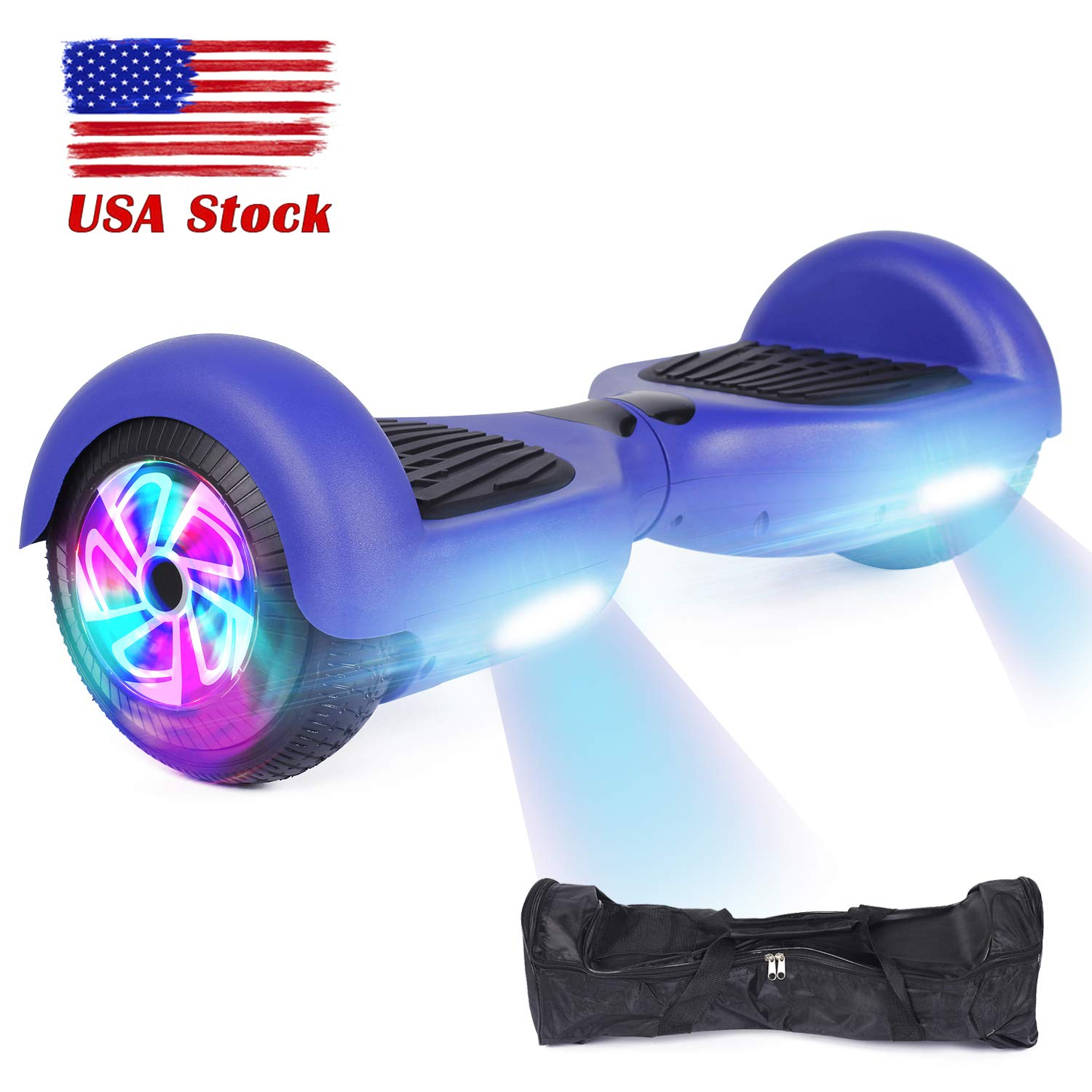 YHR Hoverboard Flashing Wheel Hover Board 6.5'' Self Balancing Scooter -UL Certified with Free Bag-Blue