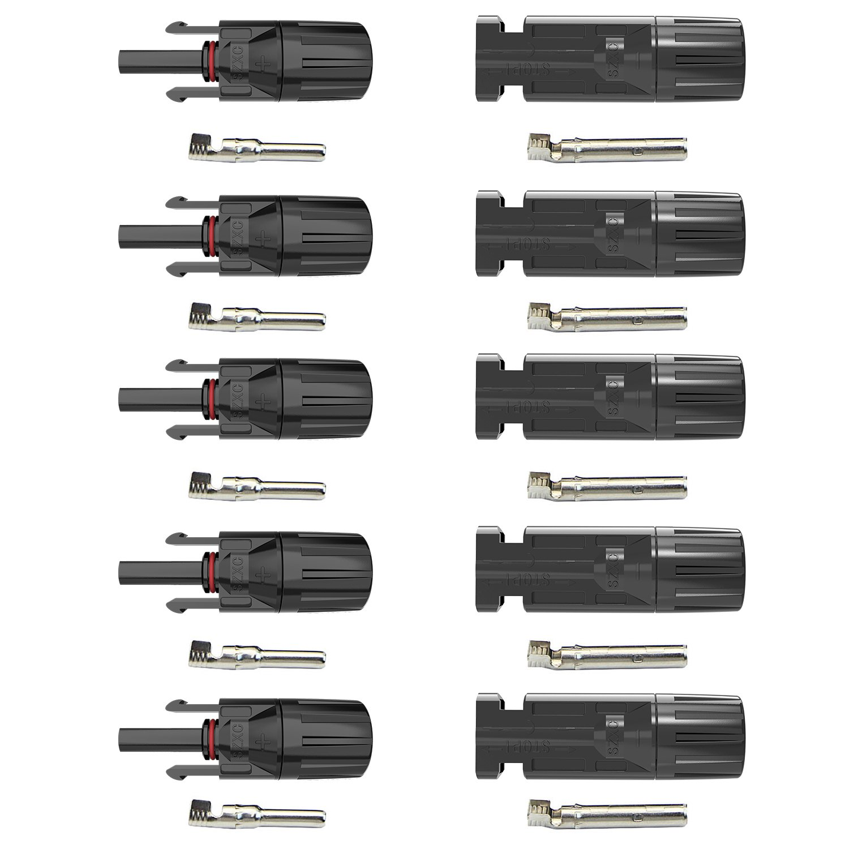 ALLPOWERS 5 Pairs MC4 Male/ Female Solar Panel Cable Connectors AP-MC4-MF5