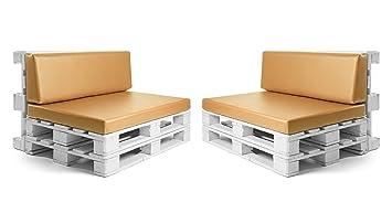 SUENOSZZZ - Conjunto colchonetas para Sofas de Palet y respaldos (2 x Unidades) Cojin Relleno con Espuma. Color Mostaza | Cojines para Chill out, ...