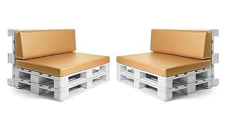 Conjunto colchonetas para sofas de palet y respaldos (2 x Unidades) Cojin relleno con espuma. Color Mostaza | Cojines para chill out, interior y ...