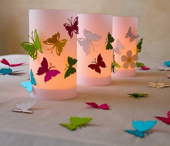 Hochzeit Windlicht Tischdeko Bunte Schmetterlinge 9 Cm