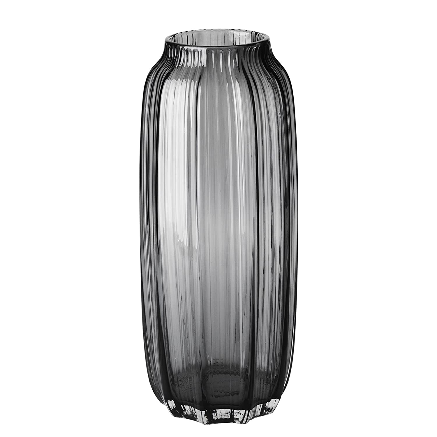 CASAMOTION Vase Hand Blown Ribbed Glass Vase,Tabletop Centerpiece Vases,Décor Gift Box,Smoke,20cm H