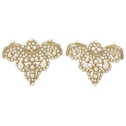 823b43b935b9 Stunning Gold Pair Sewing On Pearl Rhinestone Applique DIY Wedding Dress  Shoe Clips