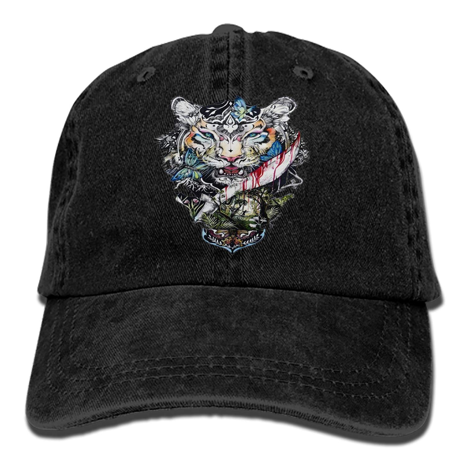Men Women Camp Hair Forest Tiger Cotton Denim Baseball Hat Adjustable Street Rapper Hat