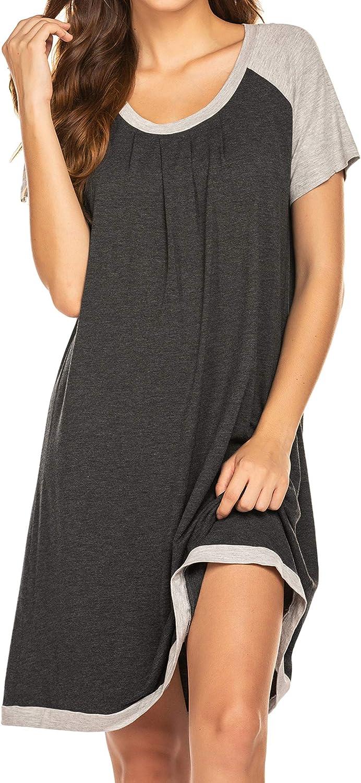 Ekouaer Nightshirt Womens Sleepwear Short Sleeve Sleepshirts Comfy Nightgowns S-XXL