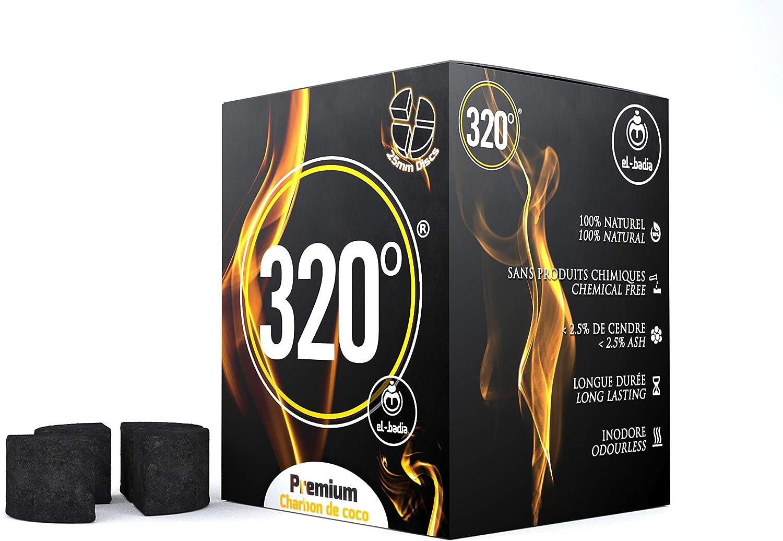 320° - Carbón de coco (círculo/Disco) natural para cachimba shisha, narguile, kaloud & barbacoas, 1 kg