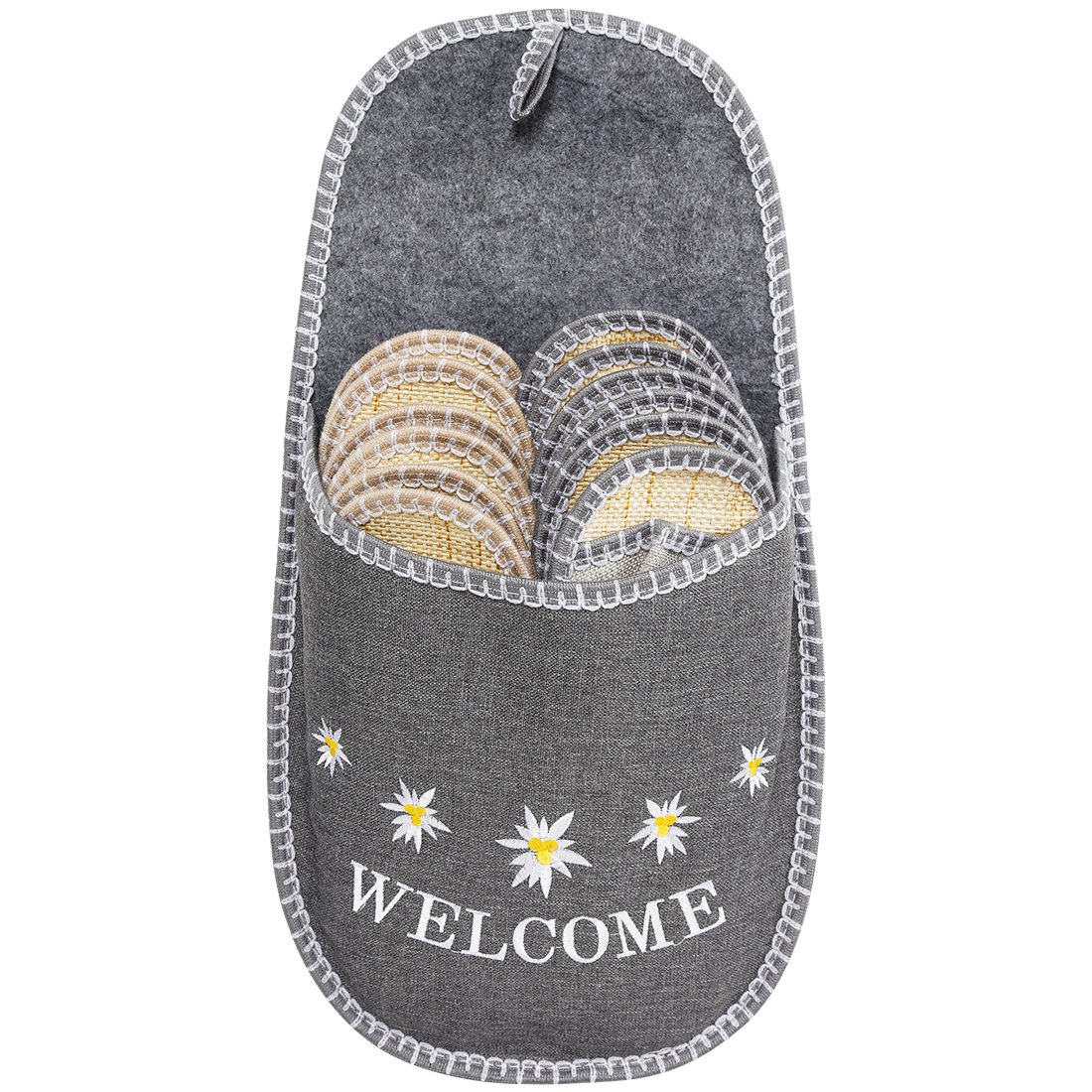 VIVIHOME Edelweiss Cool Indoor Guest Slipper Set for Summer Use Gray 6 Pairs